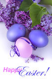 Easter eggs. Colourful Easter eggs with lilac flowers on a white background Royalty Free Stock Photography