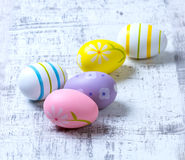 Easter Eggs. Colourful Easter Eggs on a wooden background royalty free stock images