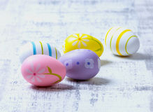 Easter Eggs. Colourful Easter Eggs on a wooden background Stock Photography