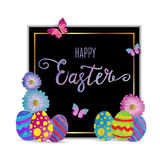 Easter eggs composition hand drawn on black background. Royalty Free Stock Image