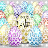 Easter eggs composition, hand drawn black inscription. Easter banner background template with beautiful colorful eggs. Vector illustration Royalty Free Stock Images