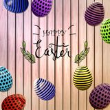 Easter eggs composition, hand drawn black inscription. Easter banner background template with beautiful colorful eggs. Vector illustration Royalty Free Stock Photo