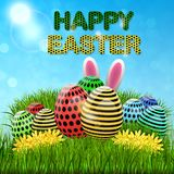 Easter eggs composition, hand drawn black inscription. Easter banner background template with beautiful colorful eggs. Vector illustration Stock Photo
