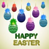 Easter eggs composition, hand drawn black inscription. Easter banner background template with beautiful colorful eggs. Vector illustration Royalty Free Stock Photography