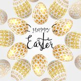 Easter eggs composition, hand drawn black inscription. Easter banner background template with beautiful colorful eggs. Vector illustration Stock Images