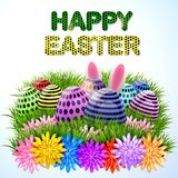Easter eggs composition, hand drawn black inscription. Easter banner background template with beautiful colorful eggs. Vector illustration Royalty Free Stock Image