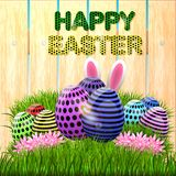 Easter eggs composition, hand drawn black inscription. Easter banner background template with beautiful colorful eggs. Vector illustration Royalty Free Stock Photos