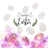 Easter eggs composition, hand drawn black inscription. Easter banner background template with beautiful colorful eggs. Vector illustration Stock Photography