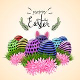 Easter eggs composition, hand drawn black inscription. Easter banner background template with beautiful colorful eggs. Vector illustration Stock Photos