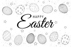 Easter eggs composition hand drawn black on white background stock illustration