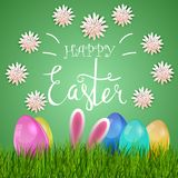 Easter eggs composition, hand drawn  inscription. Easter eggs composition, hand drawn black inscription. Easter banner background template with beautiful Royalty Free Stock Photography