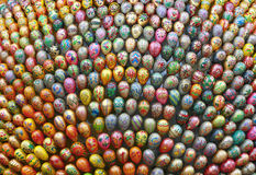 Easter eggs. Composition of a variety of Easter eggs with pictures of religious subjects Stock Photos