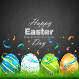Easter eggs and confetti stock illustration