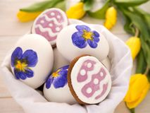 Easter eggs and cookies Royalty Free Stock Image