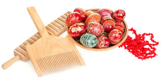 Easter eggs, coral necklace, rubel' and comb. Still life with easter eggs, coral necklace, rubel' and comb Royalty Free Stock Photography