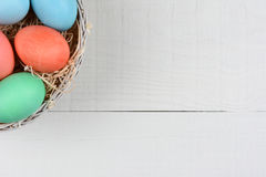 Easter Eggs in Corner Stock Photo