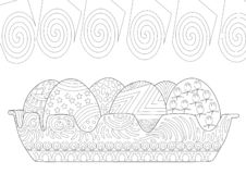 Easter Eggs Couch in Zentangle Line Drawing Coloring Page stock illustration