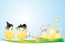 Easter Eggs Couple. Postcard of Easter eggs couple waiting egg children to be born Royalty Free Stock Images