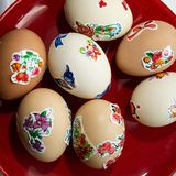 Easter eggs covered with hand drawings. In the countryside. Ukraine. Europe stock images