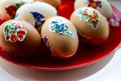 Easter eggs covered with hand drawings. In the countryside. Ukraine. Europe royalty free stock photography