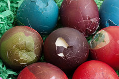Easter eggs after cracking Royalty Free Stock Image