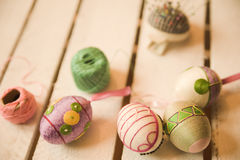 Easter eggs craftsmanship. Easter egg craftsmanship with geometric patterns Stock Images