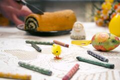 Easter eggs and crayons Royalty Free Stock Photography