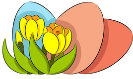 Easter eggs and crocus Royalty Free Stock Photo