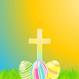 Easter eggs and cross Stock Images