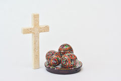 Easter eggs with crucifix Royalty Free Stock Photos