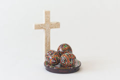 Easter eggs with crucifix Stock Images