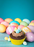 Easter Eggs and Cupcake Royalty Free Stock Photos