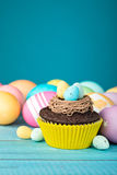 Easter Eggs and Cupcake Royalty Free Stock Photo