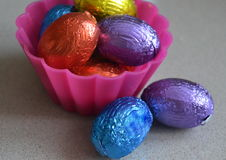 Easter eggs in cupcake  containers Stock Photo