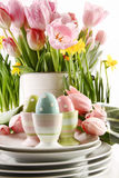 Easter eggs in cups with spring flowers on white Royalty Free Stock Image