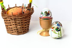 Easter eggs in cups Royalty Free Stock Photography