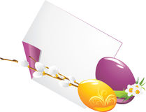 Easter eggs and curled page with willow branch royalty free stock photo