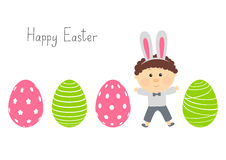 Easter eggs with cute boy Royalty Free Stock Photography