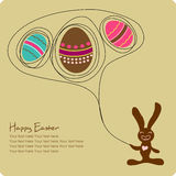 Easter eggs with cute cartoon bunny. Easter greeting card with cute cartoon bunny Stock Images