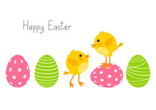 Easter eggs with cute chickens Stock Images