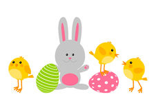 Easter eggs with cute chickens an rabbit Stock Images