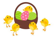 Easter eggs with cute chickens Royalty Free Stock Images
