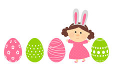 Easter eggs with cute girl Stock Photography