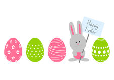 Easter eggs with cute rabbit Royalty Free Stock Photos
