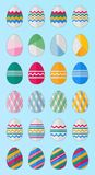 24 easter eggs. 24 cute vintage colored easter eggs set Stock Photos