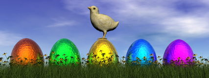 Easter eggs - 3D render Royalty Free Stock Image