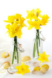 Easter Eggs With Daffodils Stock Image