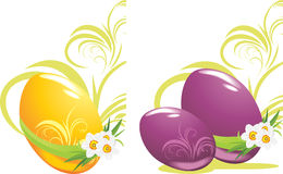 Easter eggs with daffodils Royalty Free Stock Photo