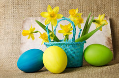 Easter eggs and daffodils in a basket Stock Image