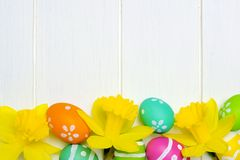 Easter eggs and daffodils bottom border over white wood Stock Photos